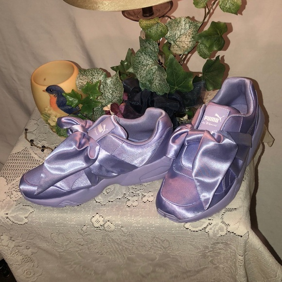 ?? Fenty Puma x Rihanna Purple Satin Bow Sneakers NWT